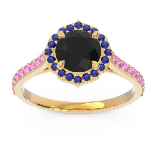 Black Onyx Halo Pave Pulla Ring with Blue Sapphire and Pink Tourmaline in 14k Yellow Gold