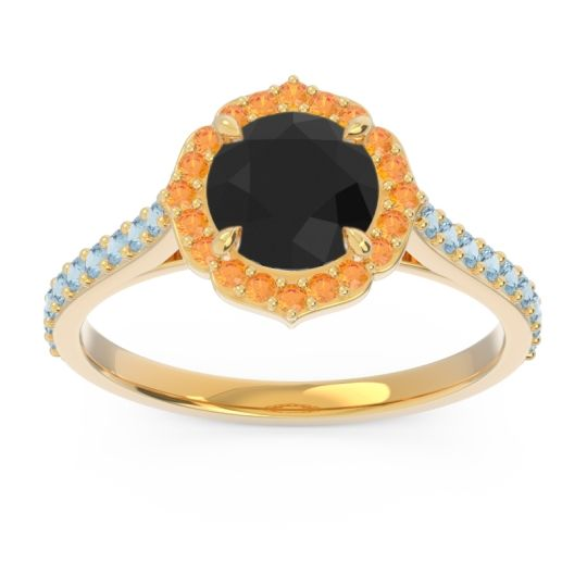 Black Onyx Halo Pave Pulla Ring with Citrine and Aquamarine in 14k Yellow Gold