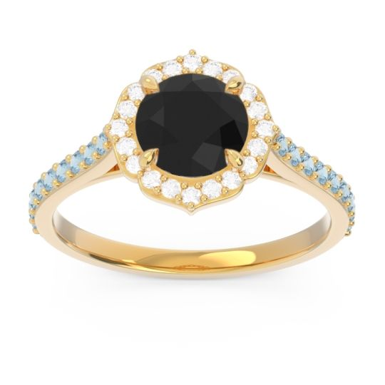 Black Onyx Halo Pave Pulla Ring with Diamond and Aquamarine in 14k Yellow Gold