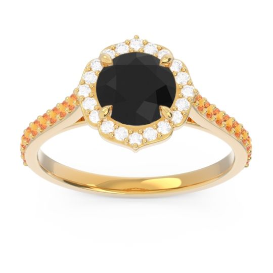 Black Onyx Halo Pave Pulla Ring with Diamond and Citrine in 14k Yellow Gold