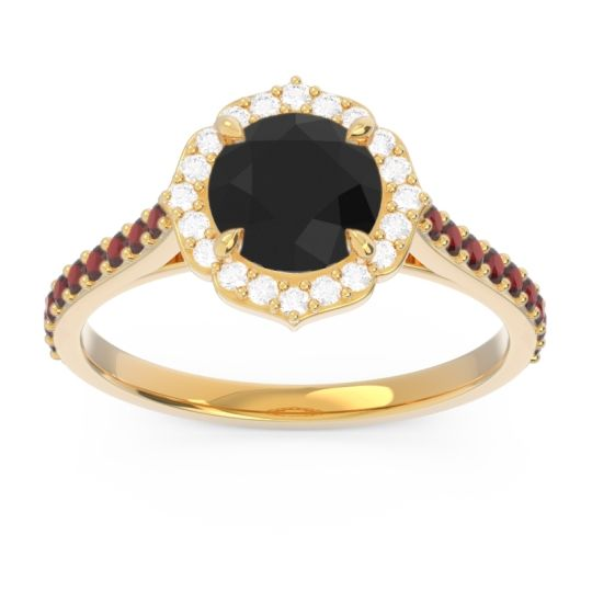 Black Onyx Halo Pave Pulla Ring with Diamond and Garnet in 14k Yellow Gold