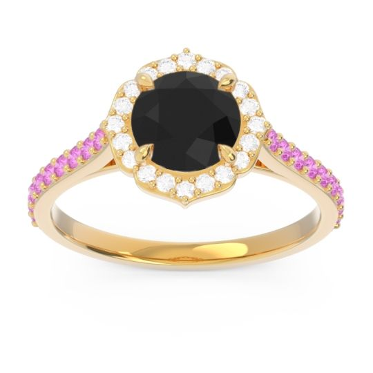 Black Onyx Halo Pave Pulla Ring with Diamond and Pink Tourmaline in 14k Yellow Gold