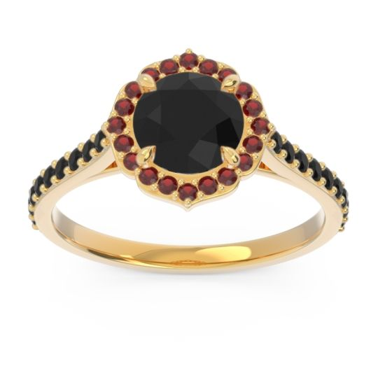 Black Onyx Halo Pave Pulla Ring with Garnet in 18k Yellow Gold
