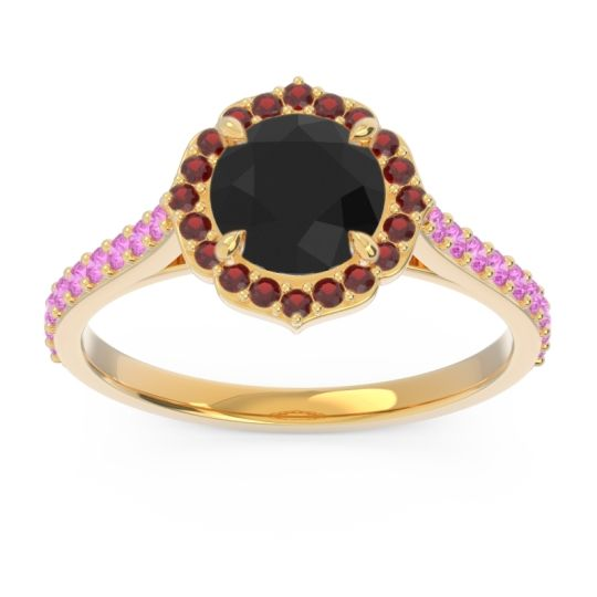 Black Onyx Halo Pave Pulla Ring with Garnet and Pink Tourmaline in 14k Yellow Gold
