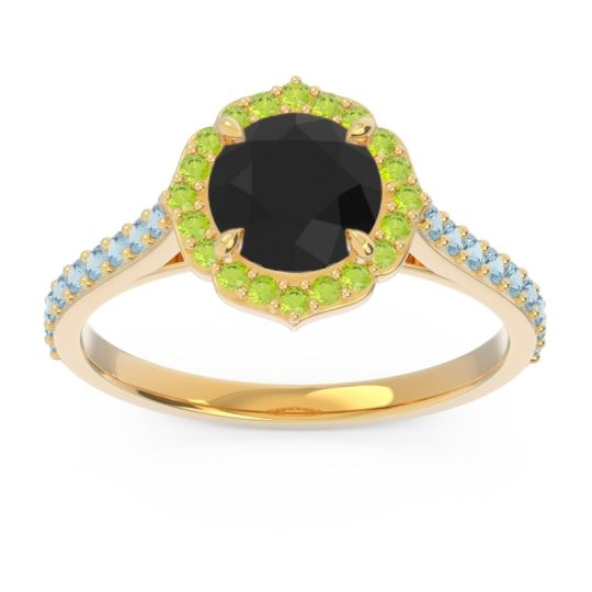 Black Onyx Halo Pave Pulla Ring with Peridot and Aquamarine in 18k Yellow Gold