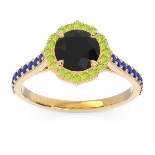 Black Onyx Halo Pave Pulla Ring with Peridot and Blue Sapphire in 14k Yellow Gold