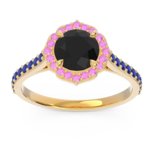 Black Onyx Halo Pave Pulla Ring with Pink Tourmaline and Blue Sapphire in 18k Yellow Gold