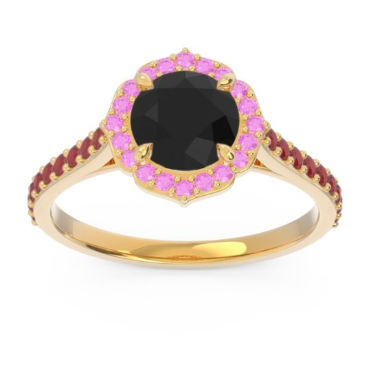 Black Onyx Halo Pave Pulla Ring with Pink Tourmaline and Ruby in 18k Yellow Gold