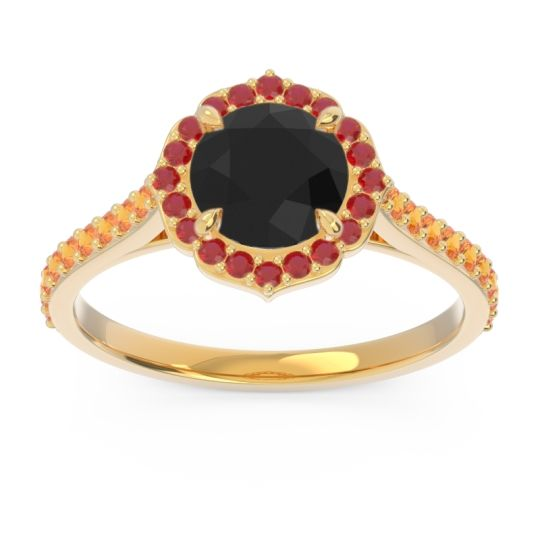 Black Onyx Halo Pave Pulla Ring with Ruby and Citrine in 18k Yellow Gold