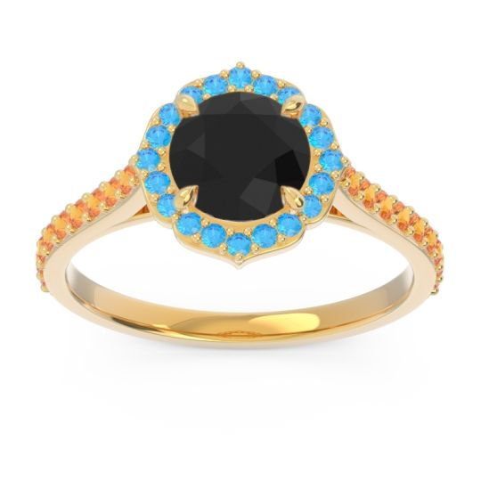 Black Onyx Halo Pave Pulla Ring with Swiss Blue Topaz and Citrine in 14k Yellow Gold