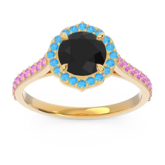 Black Onyx Halo Pave Pulla Ring with Swiss Blue Topaz and Pink Tourmaline in 14k Yellow Gold