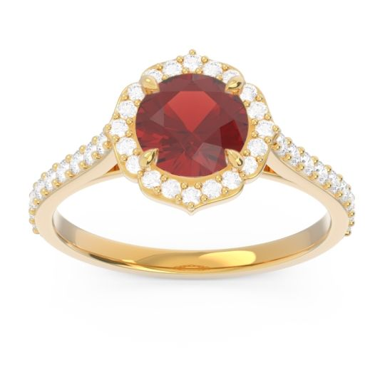 Garnet Halo Pave Pulla Ring with Diamond in 14k Yellow Gold