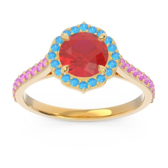 Ruby Halo Pave Pulla Ring with Swiss Blue Topaz and Pink Tourmaline in 14k Yellow Gold