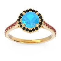Swiss Blue Topaz Halo Pave Pulla Ring with Black Onyx and Ruby in 18k Yellow Gold