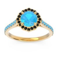 Swiss Blue Topaz Halo Pave Pulla Ring with Black Onyx in 18k Yellow Gold