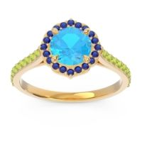 Swiss Blue Topaz Halo Pave Pulla Ring with Blue Sapphire and Peridot in 14k Yellow Gold