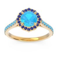 Swiss Blue Topaz Halo Pave Pulla Ring with Blue Sapphire in 18k Yellow Gold
