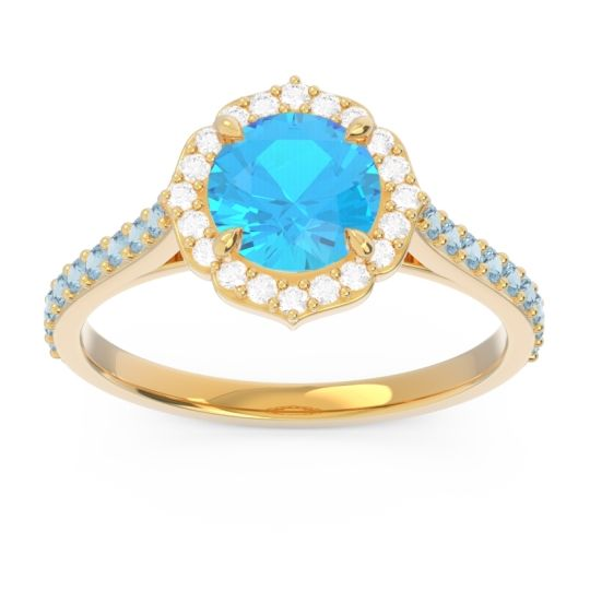 Swiss Blue Topaz Halo Pave Pulla Ring with Diamond and Aquamarine in 18k Yellow Gold