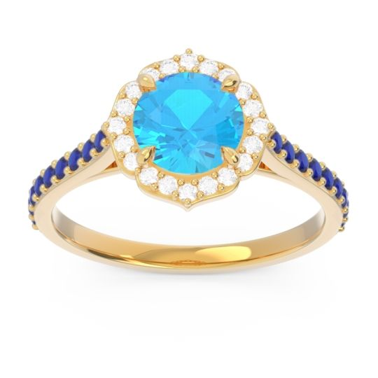 Swiss Blue Topaz Halo Pave Pulla Ring with Diamond and Blue Sapphire in 14k Yellow Gold
