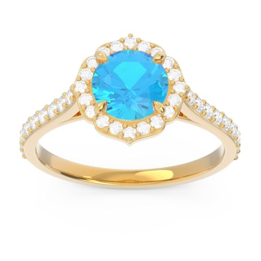 Halo Pave Pulla Swiss Blue Topaz Ring with Diamond in 14k Yellow Gold