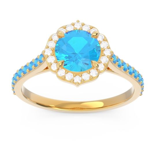 Swiss Blue Topaz Halo Pave Pulla Ring with Diamond in 18k Yellow Gold