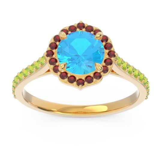 Swiss Blue Topaz Halo Pave Pulla Ring with Garnet and Peridot in 18k Yellow Gold