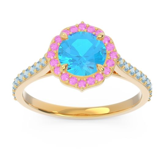 Swiss Blue Topaz Halo Pave Pulla Ring with Pink Tourmaline and Aquamarine in 18k Yellow Gold