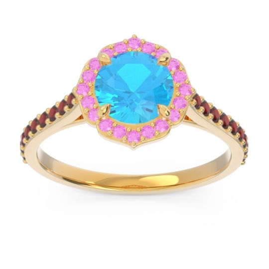 Swiss Blue Topaz Halo Pave Pulla Ring with Pink Tourmaline and Garnet in 18k Yellow Gold