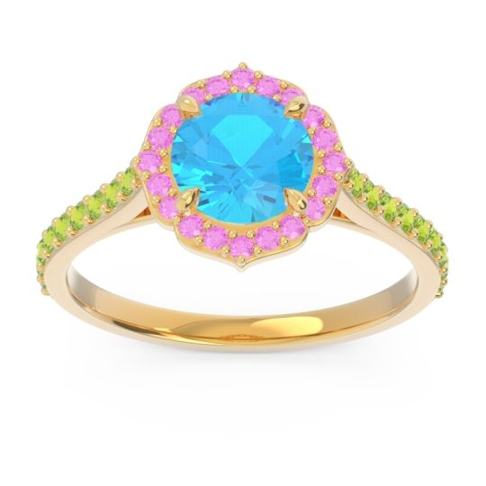 Swiss Blue Topaz Halo Pave Pulla Ring with Pink Tourmaline and Peridot in 14k Yellow Gold