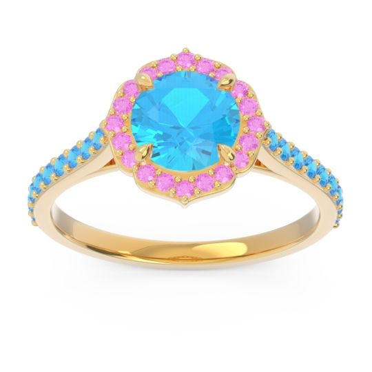 Swiss Blue Topaz Halo Pave Pulla Ring with Pink Tourmaline in 18k Yellow Gold