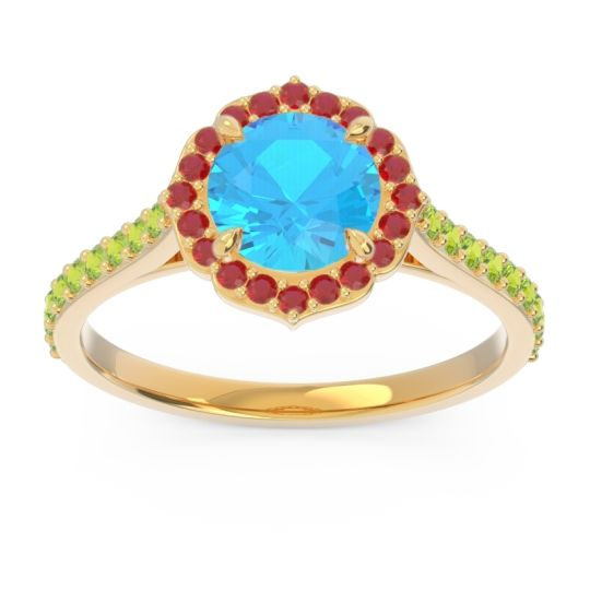 Swiss Blue Topaz Halo Pave Pulla Ring with Ruby and Peridot in 14k Yellow Gold