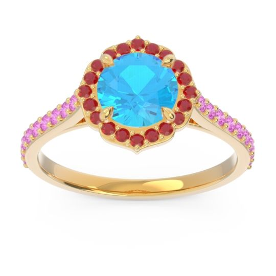 Swiss Blue Topaz Halo Pave Pulla Ring with Ruby and Pink Tourmaline in 18k Yellow Gold