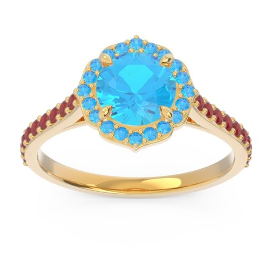 Swiss Blue Topaz Halo Pave Pulla Ring with Ruby in 18k Yellow Gold