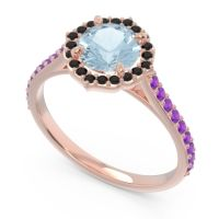 Aquamarine Halo Pave Pulla Ring with Black Onyx and Amethyst in 18K Rose Gold