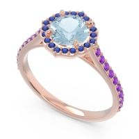 Aquamarine Halo Pave Pulla Ring with Blue Sapphire and Amethyst in 18K Rose Gold
