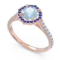 Aquamarine Halo Pave Pulla Ring with Blue Sapphire in 14K Rose Gold