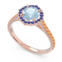 Aquamarine Halo Pave Pulla Ring with Blue Sapphire and Citrine in 18K Rose Gold