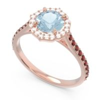 Aquamarine Halo Pave Pulla Ring with Diamond and Garnet in 14K Rose Gold