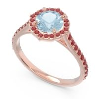 Aquamarine Halo Pave Pulla Ring with Ruby in 18K Rose Gold