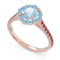 Aquamarine Halo Pave Pulla Ring with Swiss Blue Topaz and Ruby in 14K Rose Gold