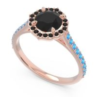 Black Onyx Halo Pave Pulla Ring with Swiss Blue Topaz in 18K Rose Gold