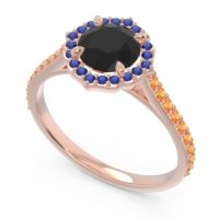 Black Onyx Halo Pave Pulla Ring with Blue Sapphire and Citrine in 14K Rose Gold