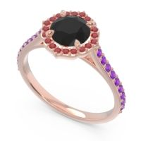 Black Onyx Halo Pave Pulla Ring with Ruby and Amethyst in 18K Rose Gold