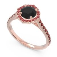 Black Onyx Halo Pave Pulla Ring with Ruby and Garnet in 18K Rose Gold