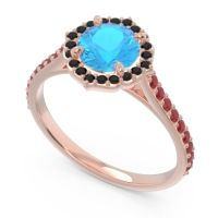 Swiss Blue Topaz Halo Pave Pulla Ring with Black Onyx and Ruby in 18K Rose Gold