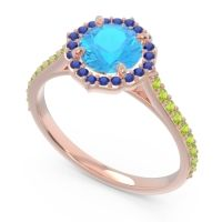 Swiss Blue Topaz Halo Pave Pulla Ring with Blue Sapphire and Peridot in 14K Rose Gold