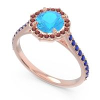 Swiss Blue Topaz Halo Pave Pulla Ring with Garnet and Blue Sapphire in 18K Rose Gold