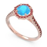 Swiss Blue Topaz Halo Pave Pulla Ring with Ruby and Garnet in 14K Rose Gold