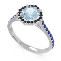 Aquamarine Halo Pave Pulla Ring with Black Onyx and Blue Sapphire in Palladium