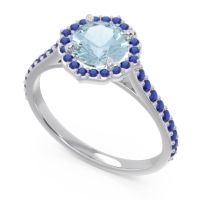 Aquamarine Halo Pave Pulla Ring with Blue Sapphire in 18k White Gold